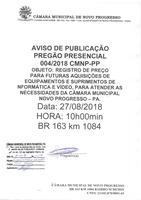 AVISO: Pregão Presencial 004/2018 CMNP